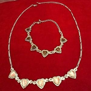 2 💟pc🌺Set Necklace and bracelet Silver